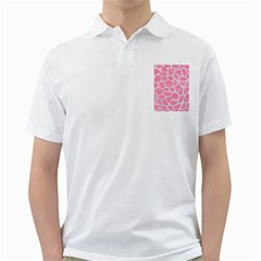 Skin1 White Marble & Pink Watercolor (r) Golf Shirts