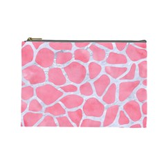 Skin1 White Marble & Pink Watercolor (r) Cosmetic Bag (large)