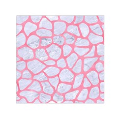 Skin1 White Marble & Pink Watercolor Small Satin Scarf (square)