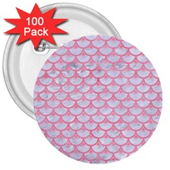 Scales3 White Marble & Pink Watercolor (r) 3  Buttons (100 Pack)