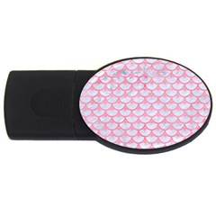 Scales3 White Marble & Pink Watercolor (r) Usb Flash Drive Oval (4 Gb) by trendistuff