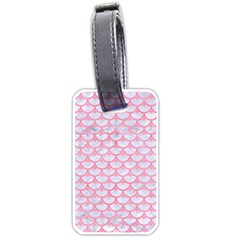 Scales3 White Marble & Pink Watercolor (r) Luggage Tags (two Sides)