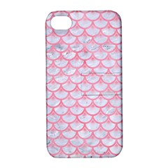 Scales3 White Marble & Pink Watercolor (r) Apple Iphone 4/4s Hardshell Case With Stand