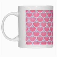 Scales3 White Marble & Pink Watercolor White Mugs