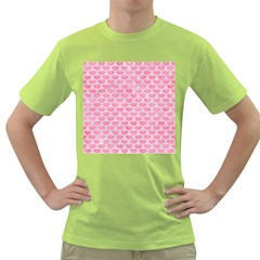 Scales3 White Marble & Pink Watercolor Green T Shirt