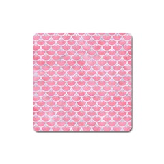 Scales3 White Marble & Pink Watercolor Square Magnet