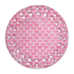 Scales3 White Marble & Pink Watercolor Round Filigree Ornament (two Sides)