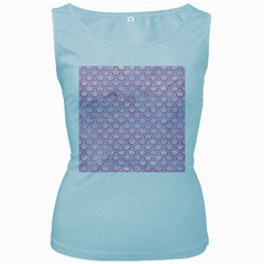 Scales2 White Marble & Pink Watercolor (r) Women s Baby Blue Tank Top