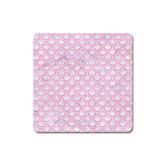 Scales2 White Marble & Pink Watercolor (r) Square Magnet
