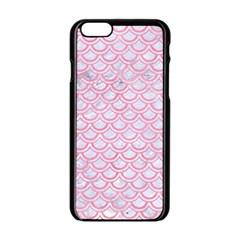 Scales2 White Marble & Pink Watercolor (r) Apple Iphone 6/6s Black Enamel Case by trendistuff