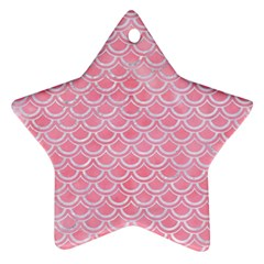 Scales2 White Marble & Pink Watercolor Ornament (star)