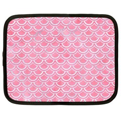 Scales2 White Marble & Pink Watercolor Netbook Case (large)