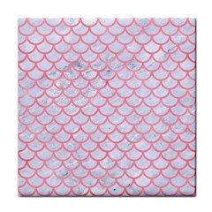 Scales1 White Marble & Pink Watercolor (r) Tile Coasters