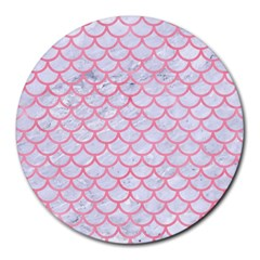 Scales1 White Marble & Pink Watercolor (r) Round Mousepads