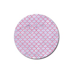 Scales1 White Marble & Pink Watercolor (r) Rubber Round Coaster (4 Pack)