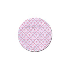 Scales1 White Marble & Pink Watercolor (r) Golf Ball Marker