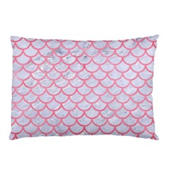 Scales1 White Marble & Pink Watercolor (r) Pillow Case