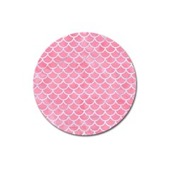 Scales1 White Marble & Pink Watercolor Magnet 3  (round)