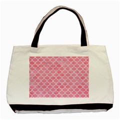 Scales1 White Marble & Pink Watercolor Basic Tote Bag by trendistuff