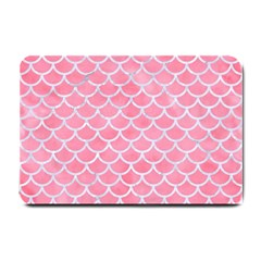Scales1 White Marble & Pink Watercolor Small Doormat