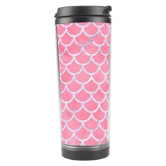 Scales1 White Marble & Pink Watercolor Travel Tumbler