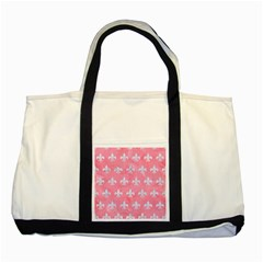 Royal1 White Marble & Pink Watercolor (r) Two Tone Tote Bag