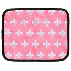 Royal1 White Marble & Pink Watercolor (r) Netbook Case (xl)