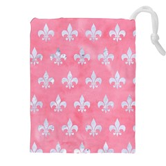 Royal1 White Marble & Pink Watercolor (r) Drawstring Pouches (xxl)