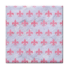 Royal1 White Marble & Pink Watercolor Tile Coasters