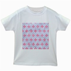 Royal1 White Marble & Pink Watercolor Kids White T Shirts