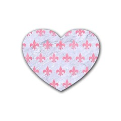 Royal1 White Marble & Pink Watercolor Rubber Coaster (heart)