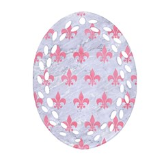 Royal1 White Marble & Pink Watercolor Oval Filigree Ornament (two Sides)