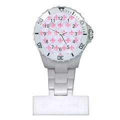 Royal1 White Marble & Pink Watercolor Plastic Nurses Watch by trendistuff
