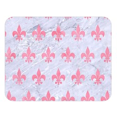 Royal1 White Marble & Pink Watercolor Double Sided Flano Blanket (large)