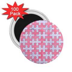 Puzzle1 White Marble & Pink Watercolor 2 25  Magnets (100 Pack)