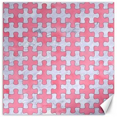 Puzzle1 White Marble & Pink Watercolor Canvas 12  X 12
