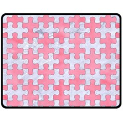 Puzzle1 White Marble & Pink Watercolor Fleece Blanket (medium)  by trendistuff