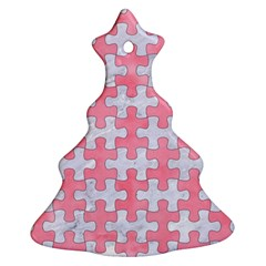 Puzzle1 White Marble & Pink Watercolor Ornament (christmas Tree)