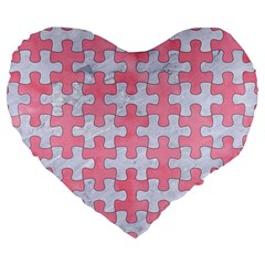 Puzzle1 White Marble & Pink Watercolor Large 19  Premium Heart Shape Cushions by trendistuff