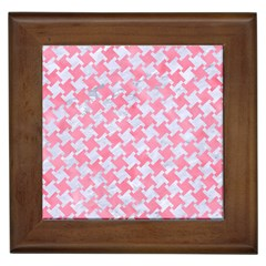 Houndstooth2 White Marble & Pink Watercolor Framed Tiles