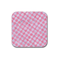 Houndstooth2 White Marble & Pink Watercolor Rubber Coaster (square)