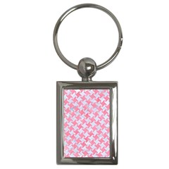 Houndstooth2 White Marble & Pink Watercolor Key Chains (rectangle)