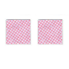 Houndstooth2 White Marble & Pink Watercolor Cufflinks (square)