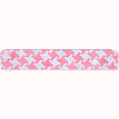 Houndstooth2 White Marble & Pink Watercolor Small Bar Mats