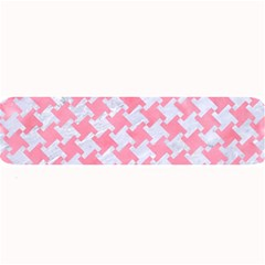 Houndstooth2 White Marble & Pink Watercolor Large Bar Mats