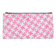 Houndstooth2 White Marble & Pink Watercolor Pencil Cases