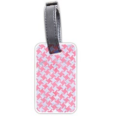Houndstooth2 White Marble & Pink Watercolor Luggage Tags (one Side)