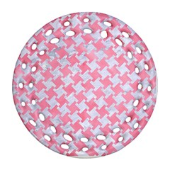 Houndstooth2 White Marble & Pink Watercolor Round Filigree Ornament (two Sides)