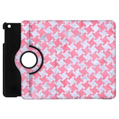 Houndstooth2 White Marble & Pink Watercolor Apple Ipad Mini Flip 360 Case