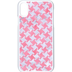 Houndstooth2 White Marble & Pink Watercolor Apple Iphone X Seamless Case (white)